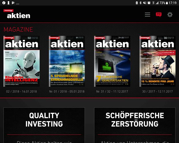 So sieht die neue App fürs aktien Magazin aus (Smartphone + Tablet)