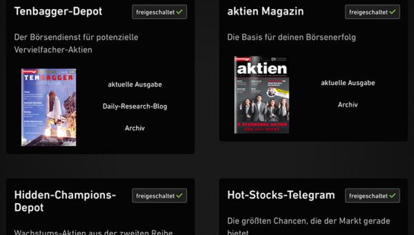 Die neue App des aktien Magazins. Mit einem Klick zu den aussichtsreichen Aktien!